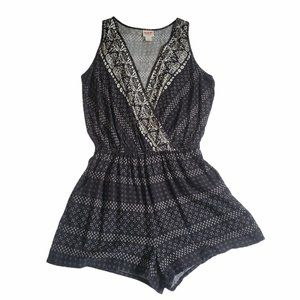 Mossimo Black White Printed Shorts Romper With Poc